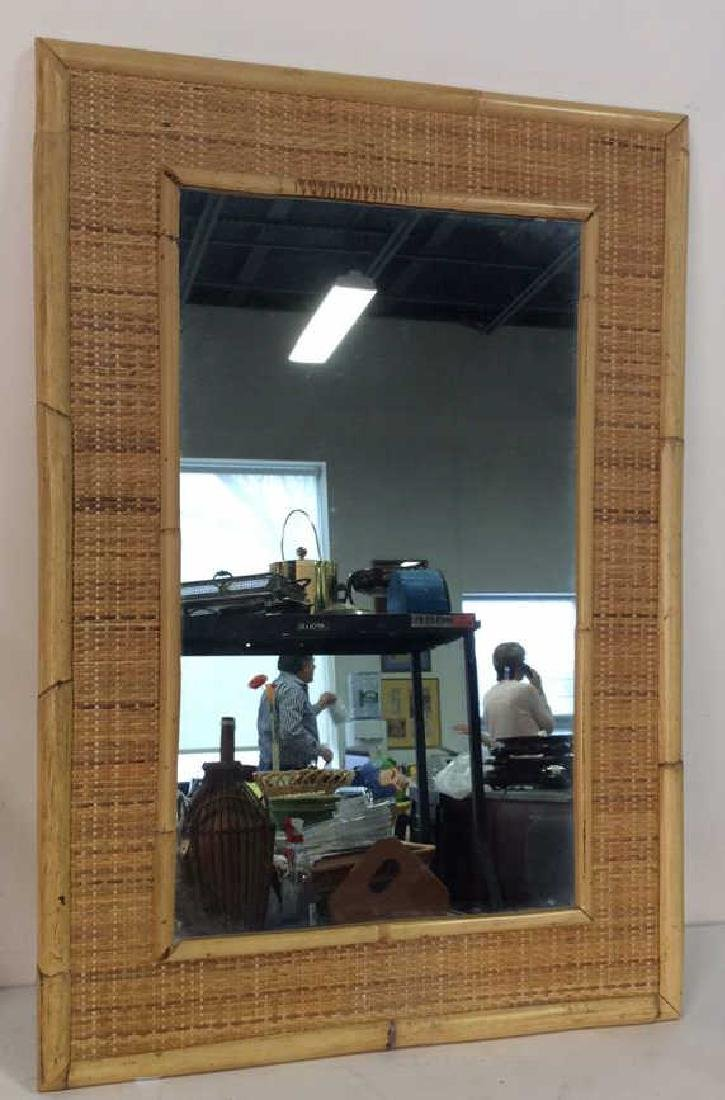 Wall Mirror W Bamboo Wood Frame