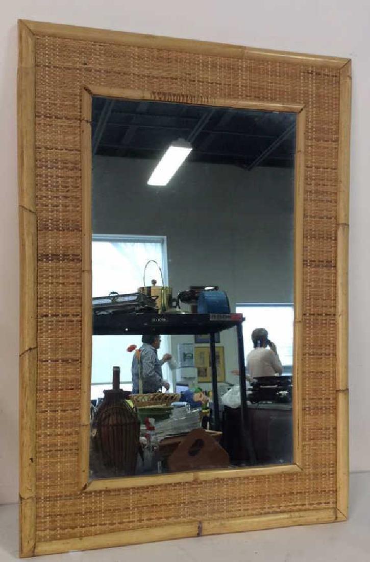 Wall Mirror W Bamboo Wood Frame