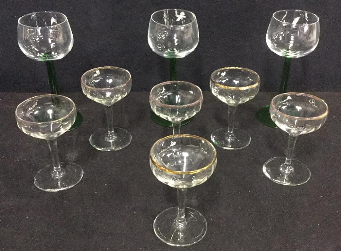 Lot 9 Vintage Mixed Collection Of Cordial Glasses