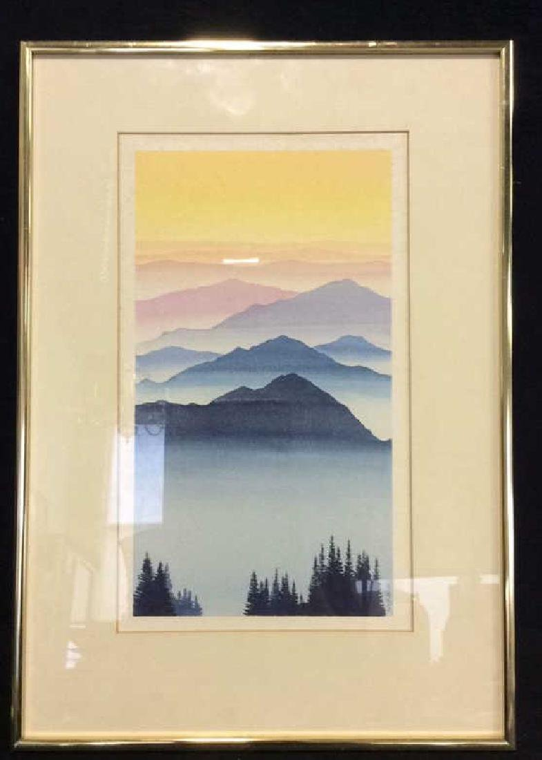 Framed Watercolor Landscape Painting