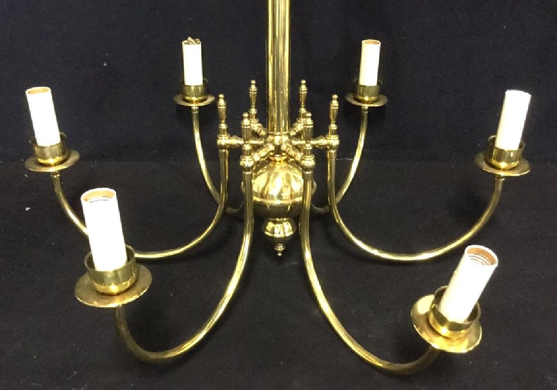 Brass Toned Metal Six Armed Chandelier