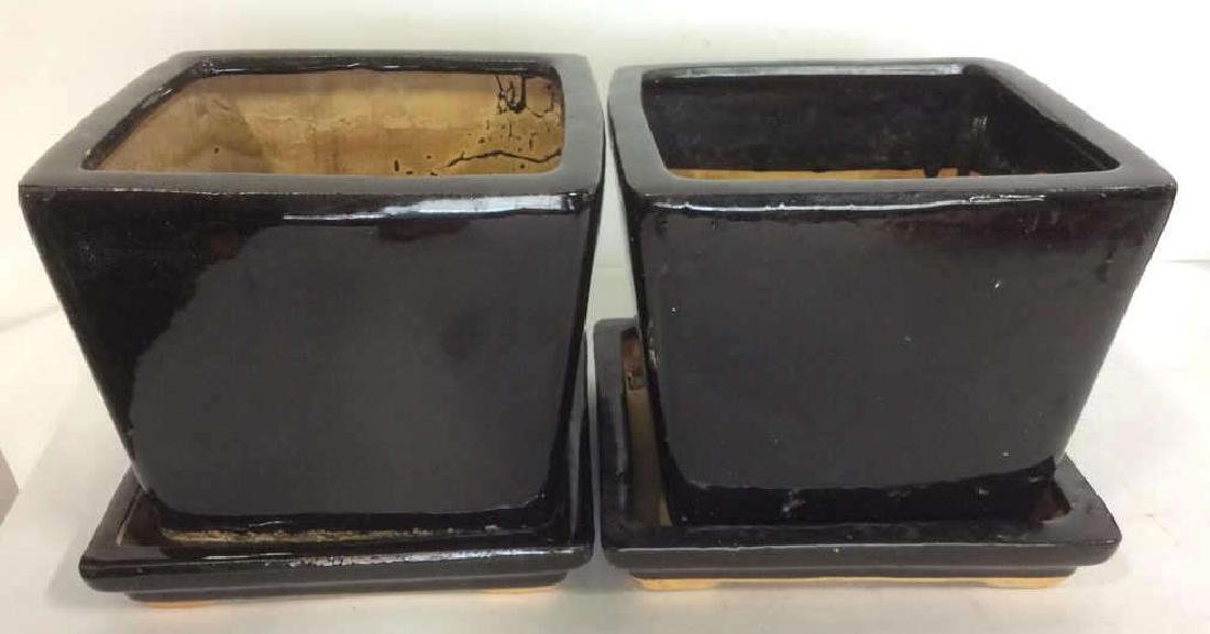 Lot 4 Ceramic Planters & Drainage Trays