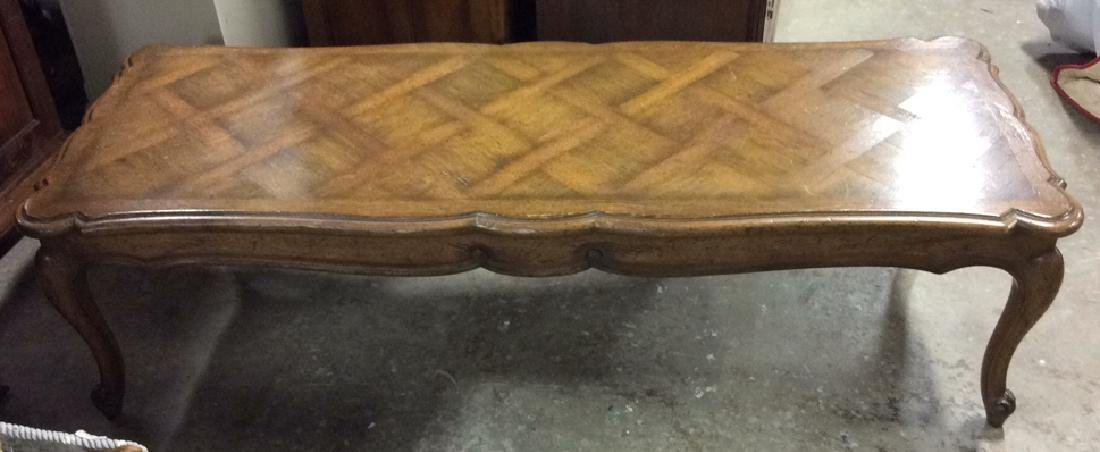 Vintage French Walnut Parquet Coffee Table