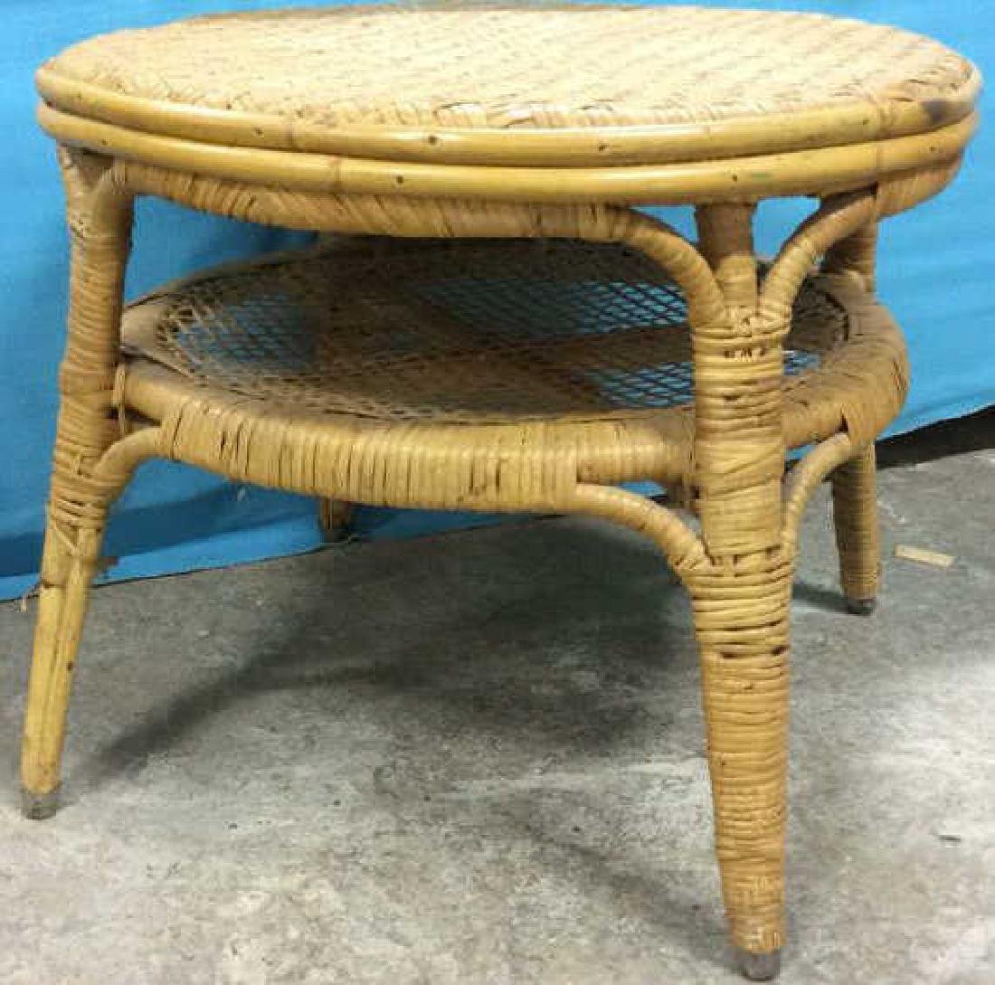 Bamboo Circular Low Table Side Table