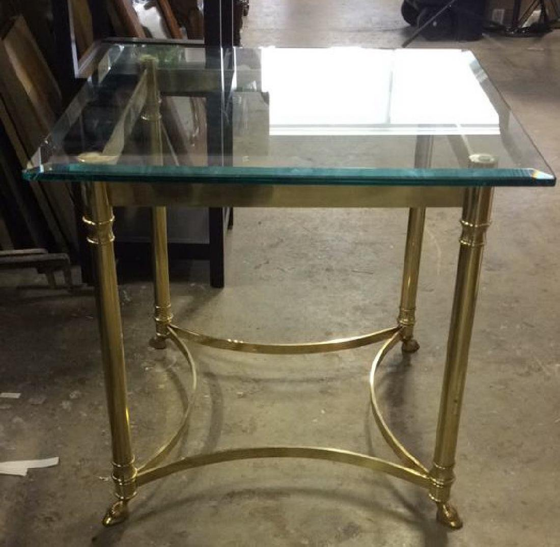 Brass Side Table W Beveled Glass Top