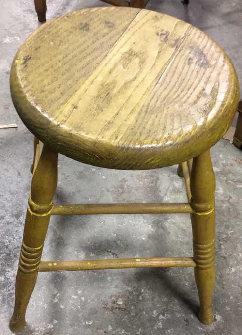 Antique Wooden Footstool Seat Bench
