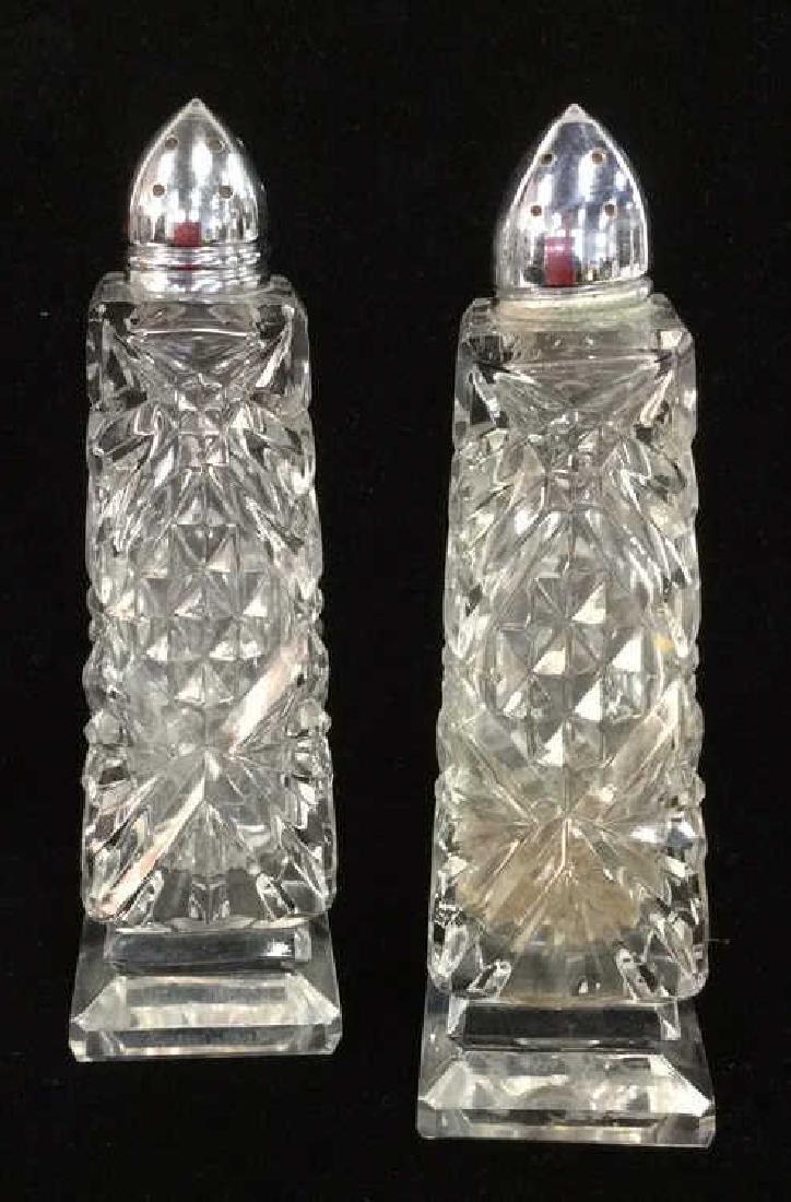 Pair Cut Glass Geometric Cut Salt&Pepper Shakers