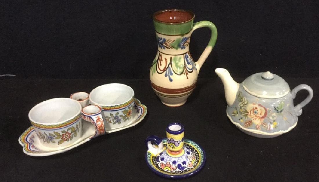 Lot 4 Mixed Lot Of Hand Painted Ceramics