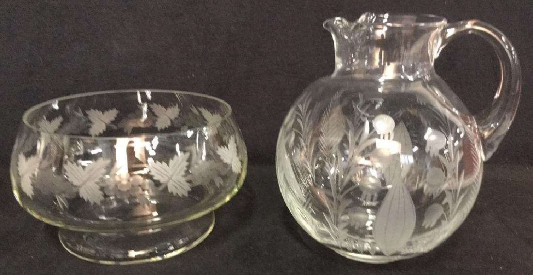 Lot 2 Etched Glass Pitcher And Fruit Bowl