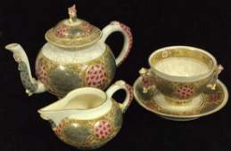 Set 4 Satsuma Style Porcelain Tea Set