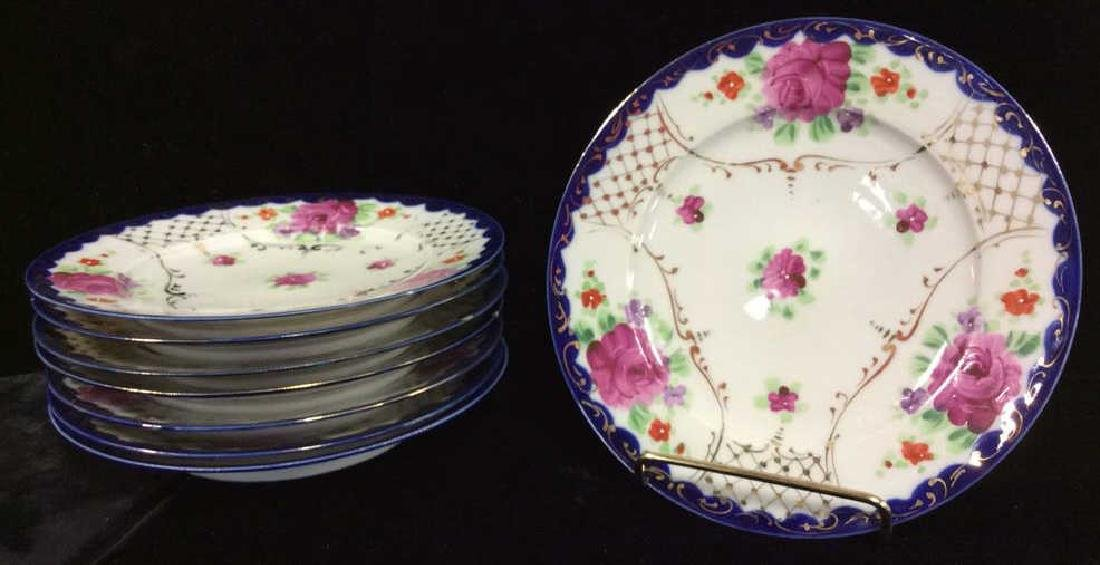 Set 8 Floral Filigree Decorated Dessert Plates