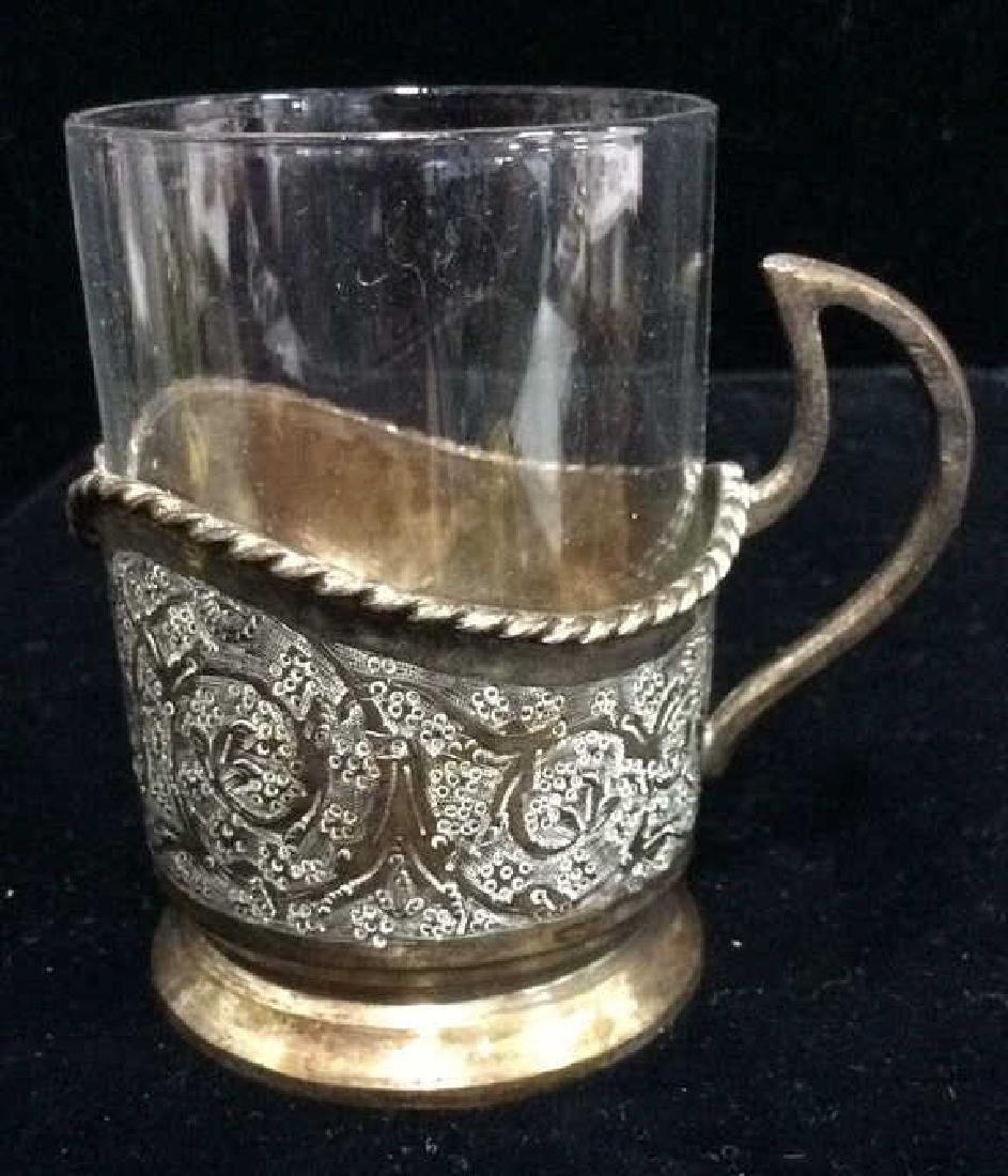 Vintage Glass and Brass Drinking Cup