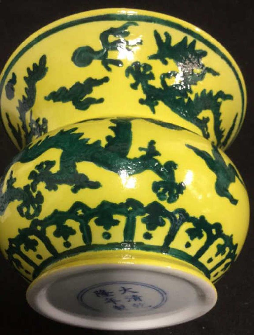 Dragon Decorated Signed Asian Ceramic Pot