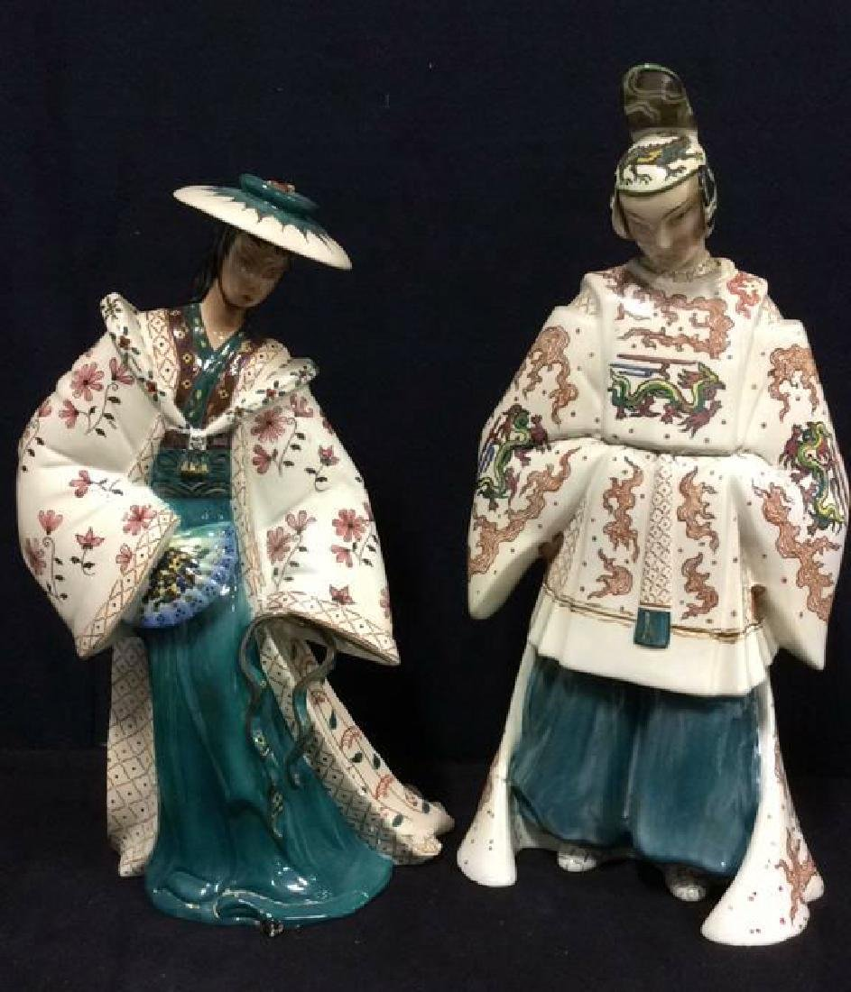 Pair LE BERTETTI Porcelain Oriental Figures