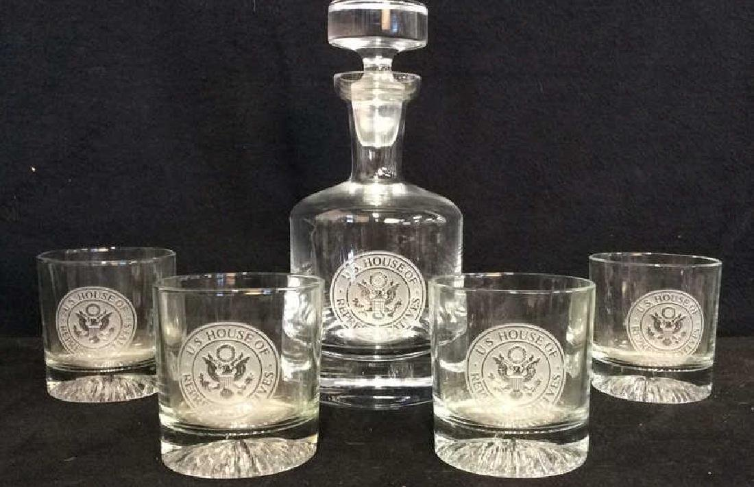 Lot 5 US House Of Reps Decanter & Glasses