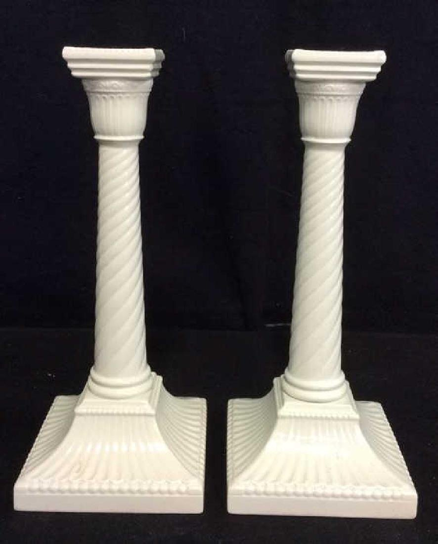 Pair Ceramic Porcelain Candlesticks