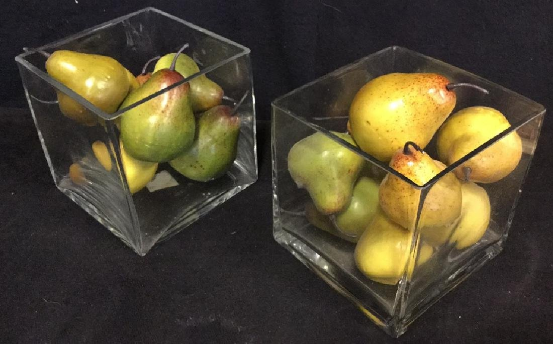 Lot 2 Glass Vases And Faux Pear Fruit Centerpieces