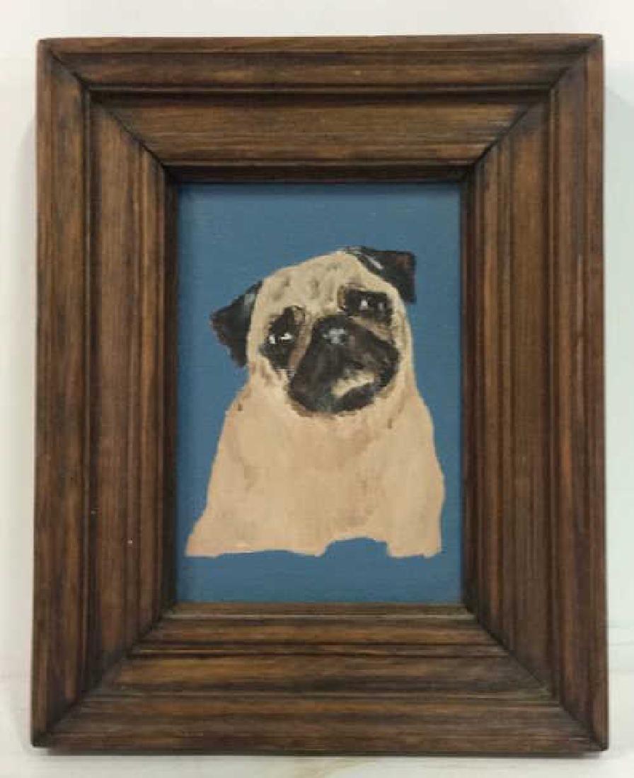 Framed Pug Painting On Canvas