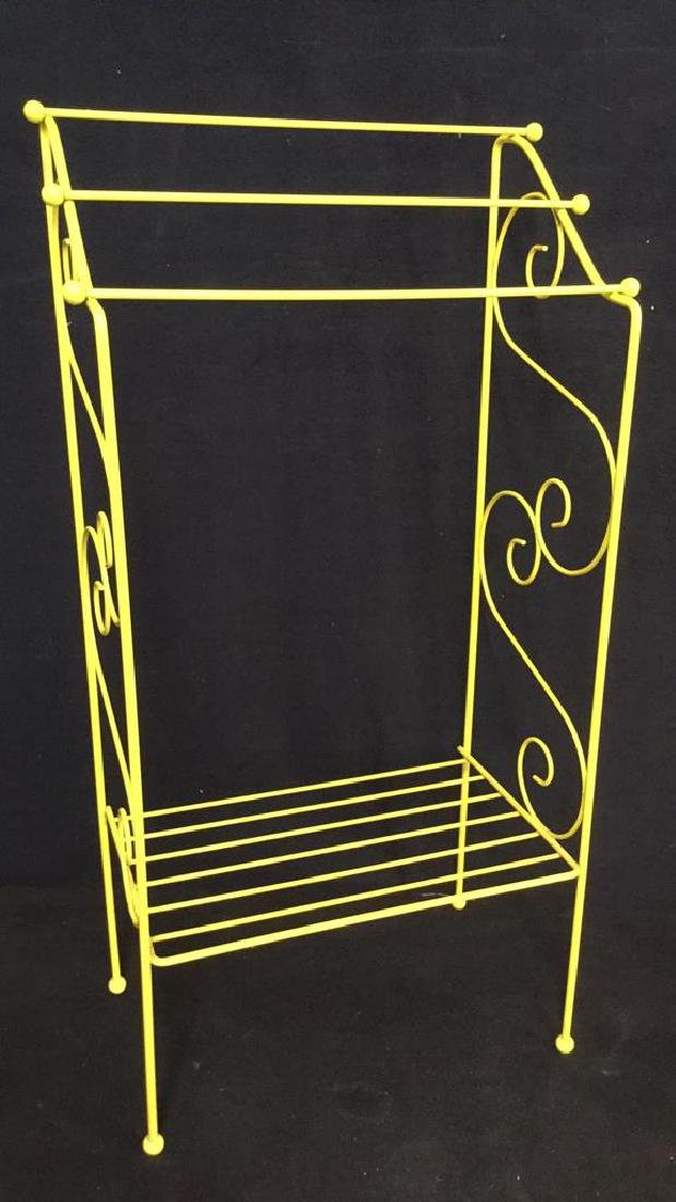 Yellow Painted Metal Towel Rack