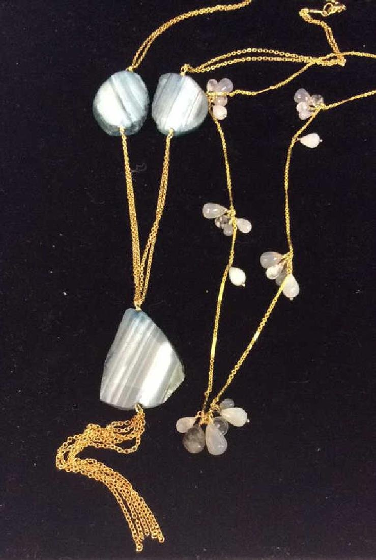 Lot 2 Natural Stone on Gold Toned Chain Necklaces