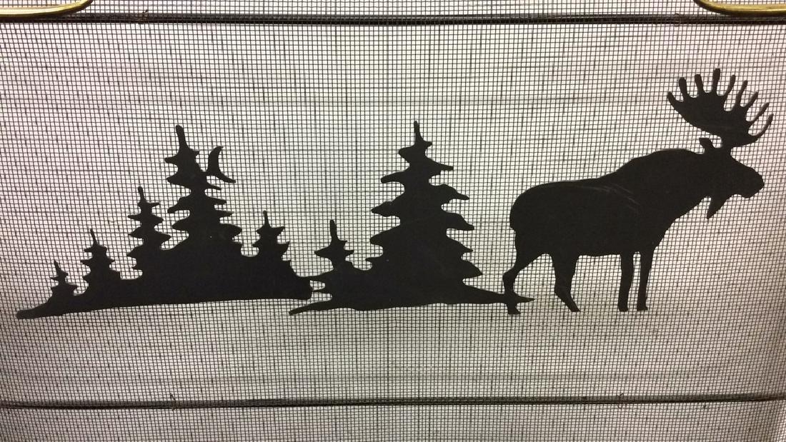 Black Metal Fireplace Moose Design Screen
