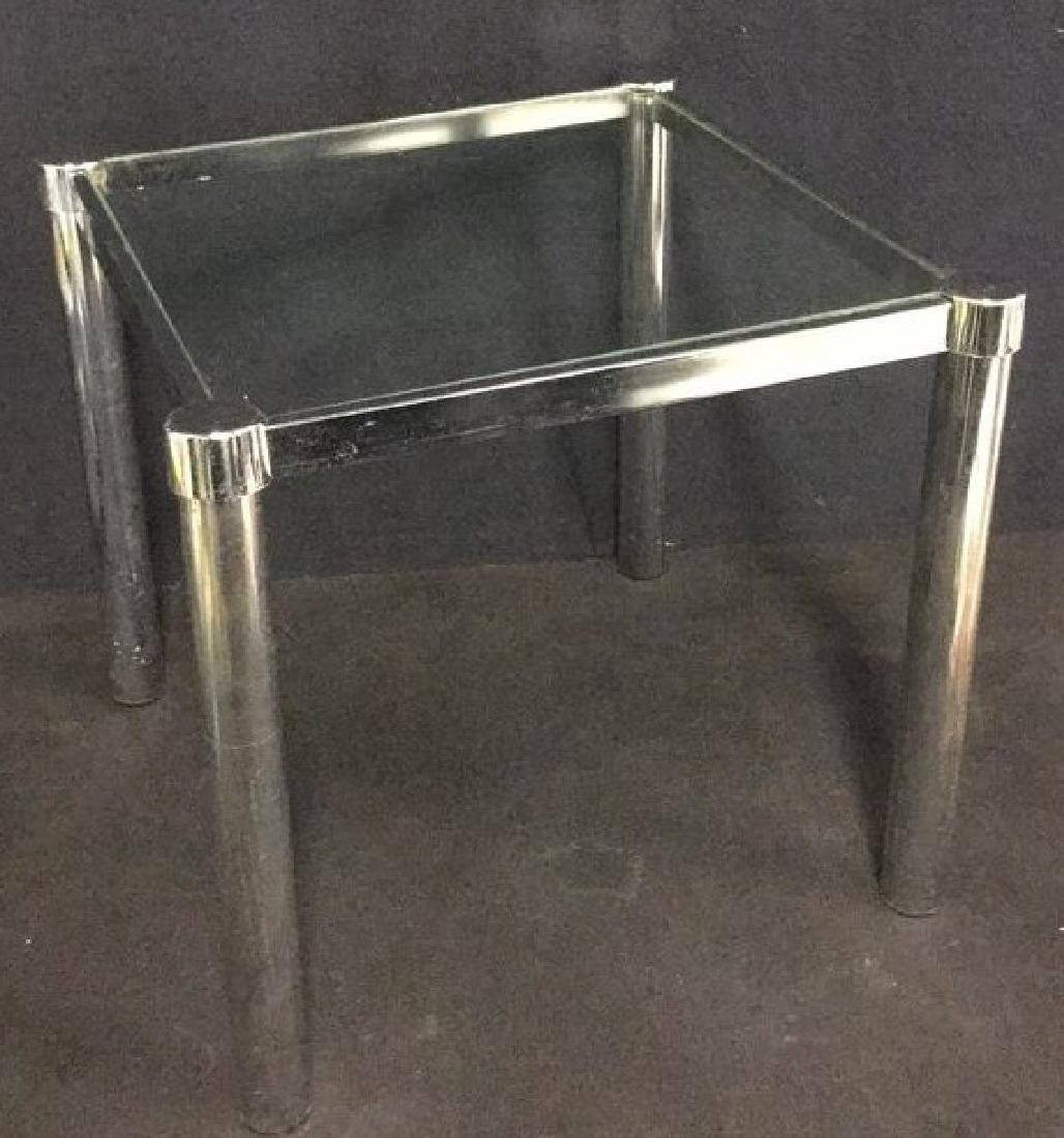 Mid Century Modern Glass Chrome Side Table