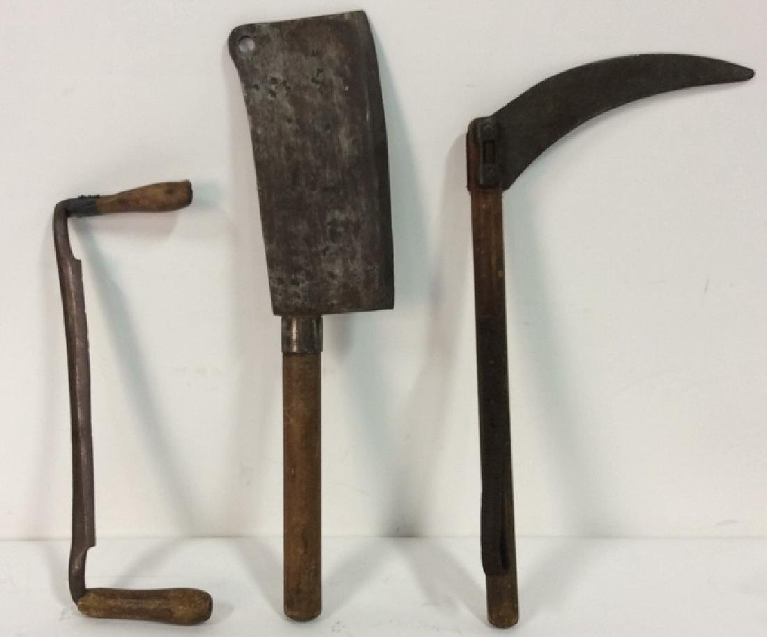 Lot 3 Antique Metal and Wood Tools