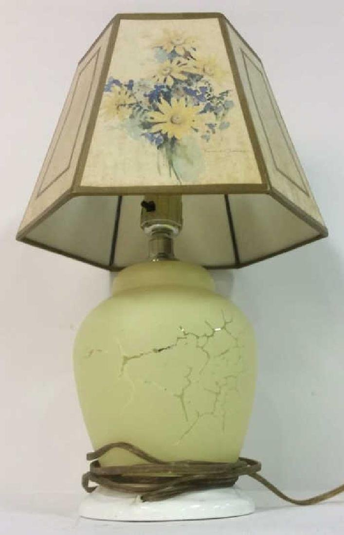 Yellow Toned Floral Detailed Lamp w Shade