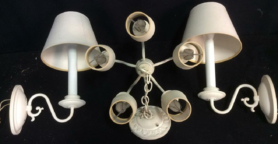Group Lot of 3 Vintage White Lighting Fixtures