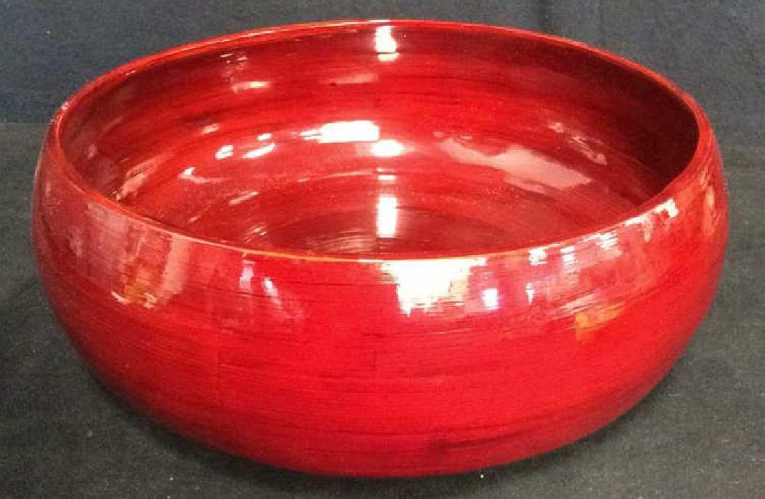 Asian Red Strie Lacquer Centerpiece Bowl