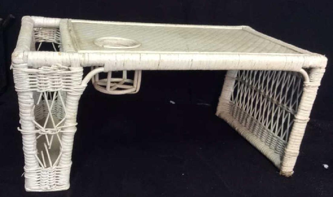Vintage Wicker Tray on Standing Sides