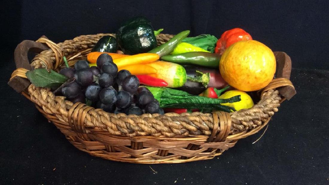 Vintage Basket with Faux Fruit and Veg