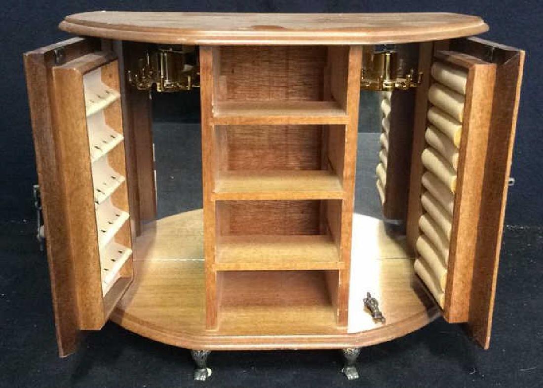 Vintage Wood Glass Brass Jewelry Cabinet