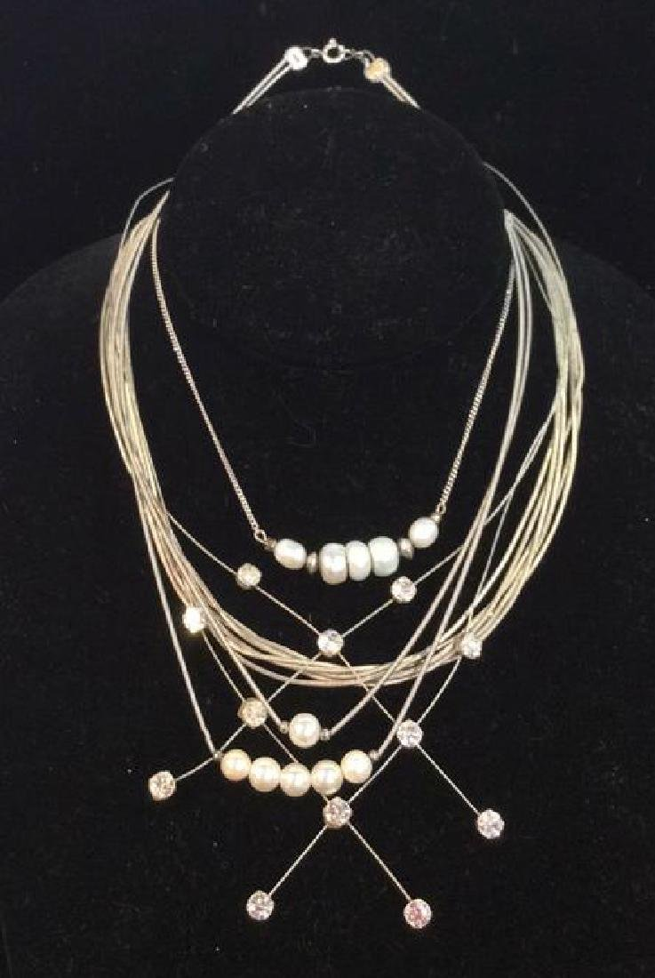 Lot 4 Pearl Beaded Jewelry Necklaces