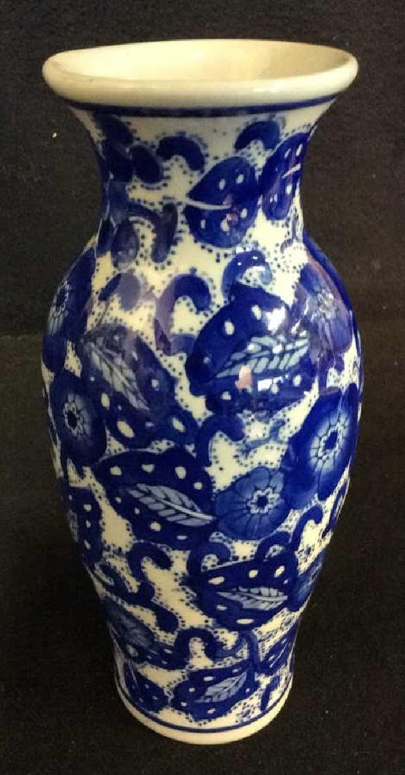 Blue & White Toned Floral Detailed Porcelain Vase