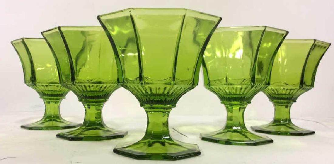 Lot 5 Green Toned Pedestaled Dessert Glasses