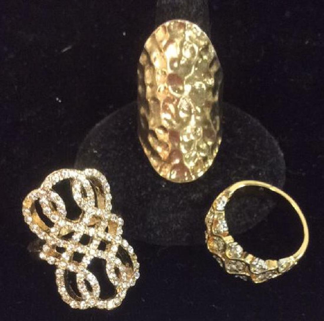 Lot 3 Assorted Gold Toned Metal Rings Jewelry