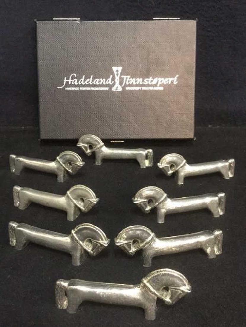 8 Hadeland Tinnstoperi Pewter Horse Cutlery Rests