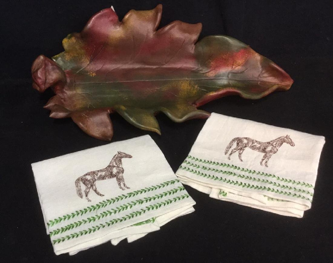 Lot 3 Pottery Leaf Tray & Linen Horse Hand Towels