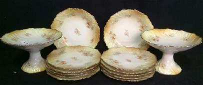 Vintage Painted Porcelain Plates Pedestals 14 Pcs
