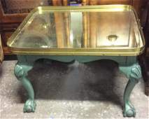 Vintage Brass Top Green Claw Footed Coffee Table