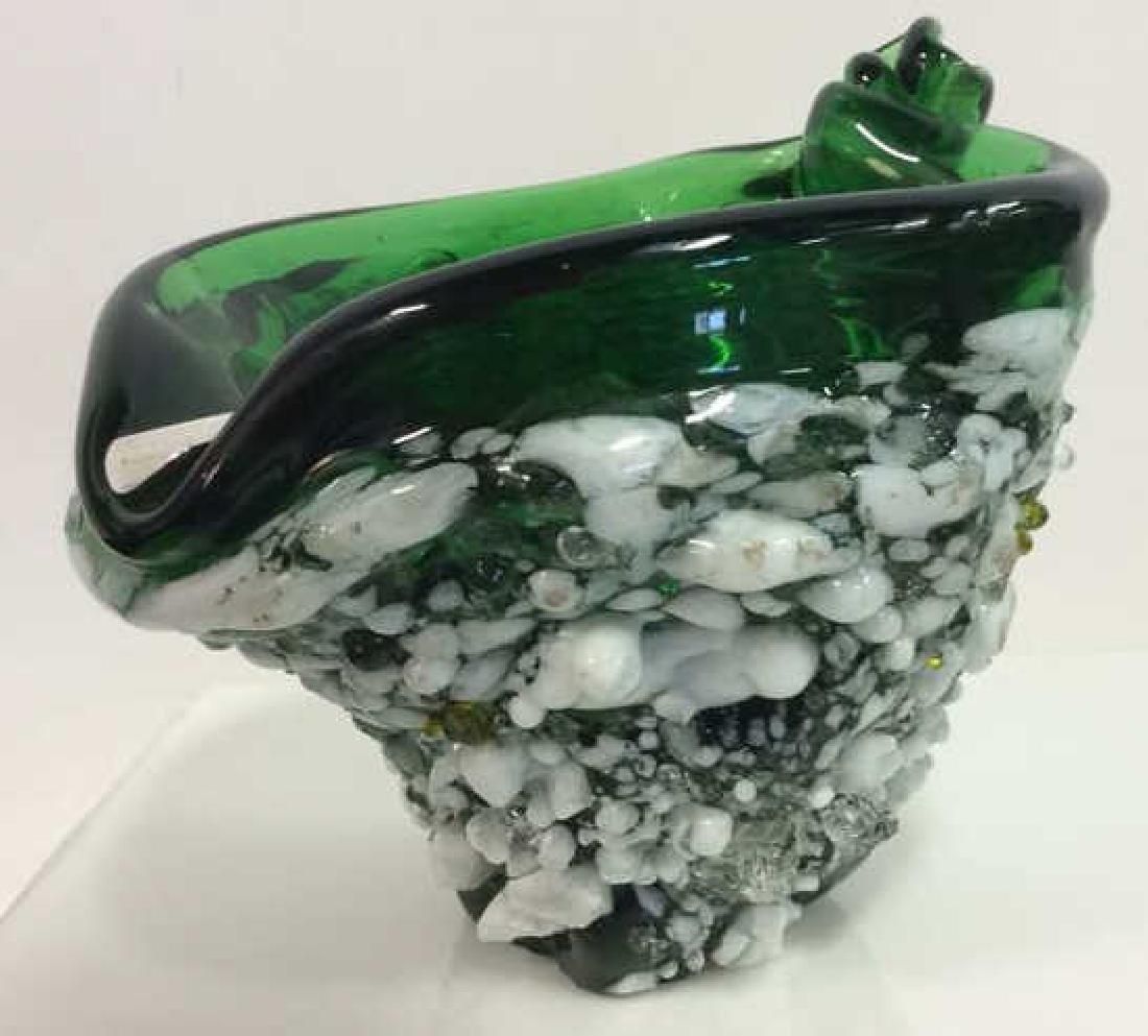 Mid Century Spanish Art Glass Ashtray W Sterling