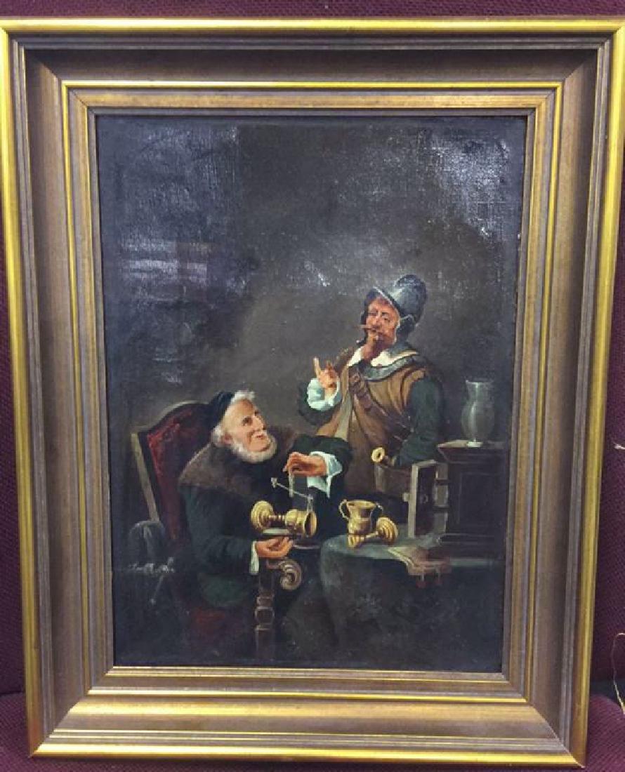 Antique Oil Painting Pub Scene