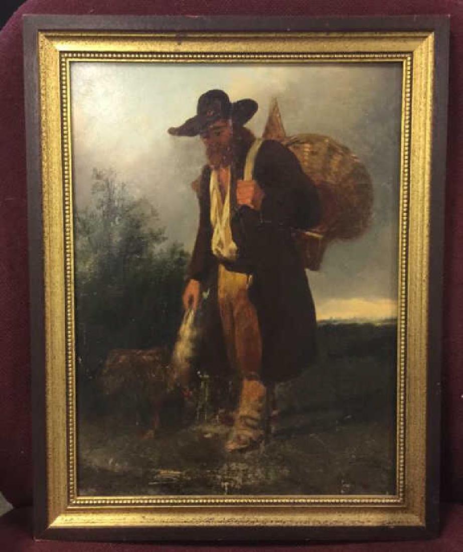 Antique Framed Oil Painting Man w Dog, 1875