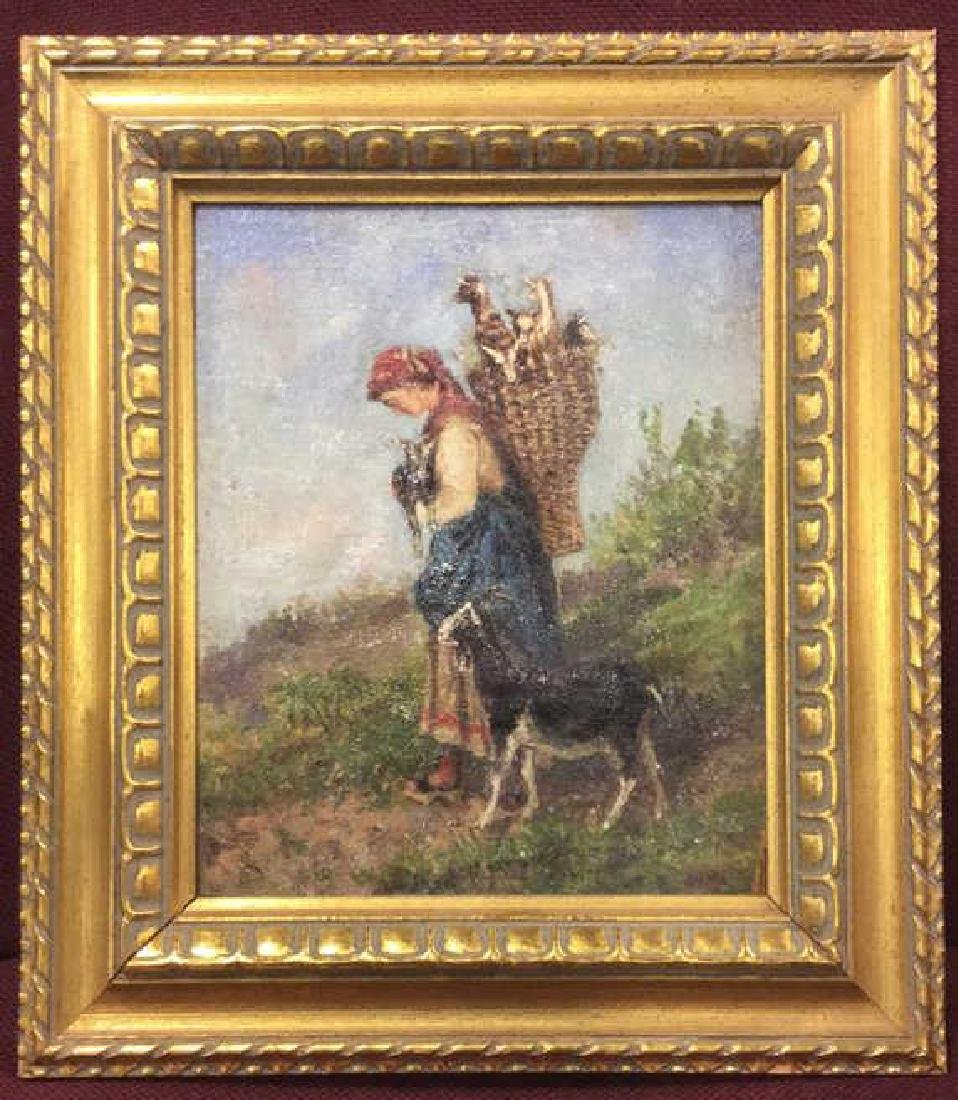 Oil Painting Young Girl w Goats