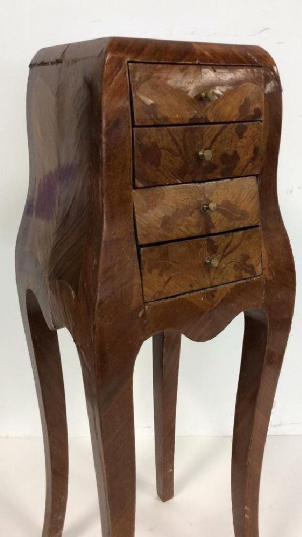 Antique Marquetry Inlaid Parquetry Small End Table - 2