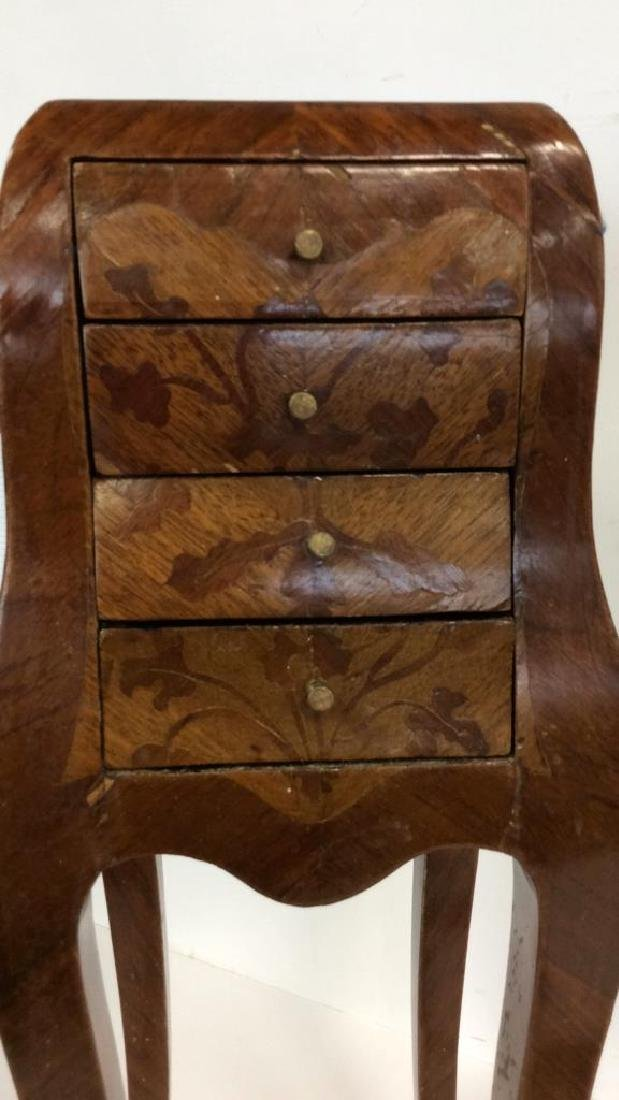 Antique Marquetry Inlaid Parquetry Small End Table - 3