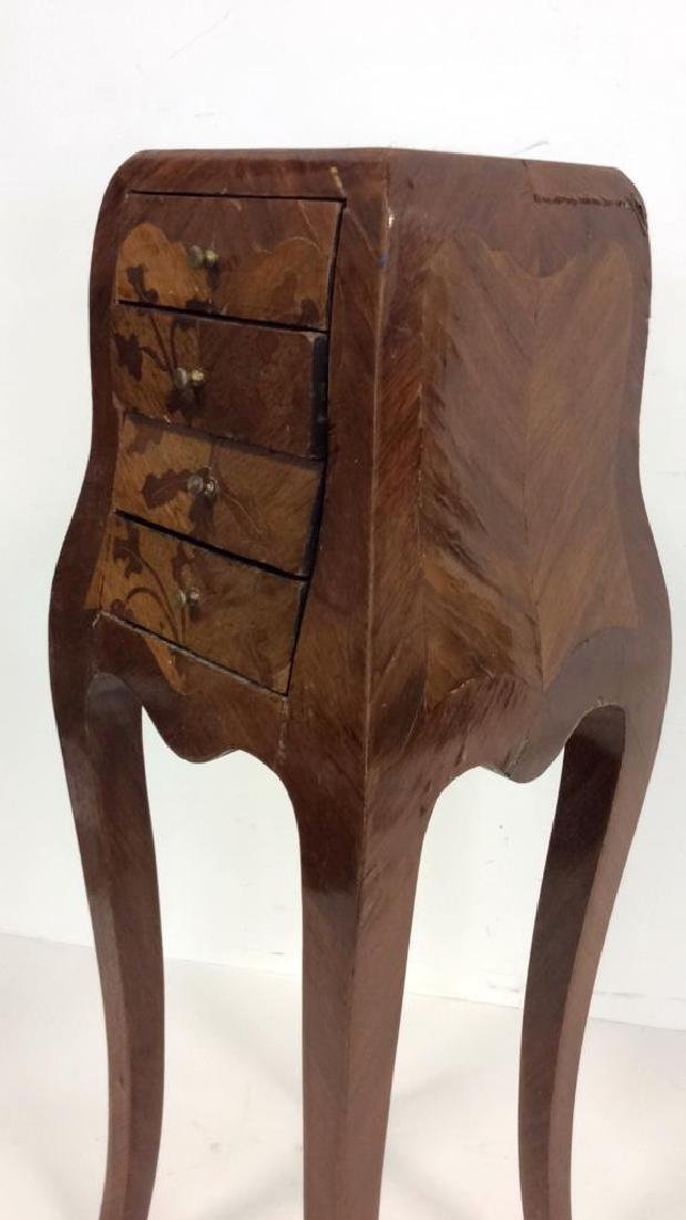 Antique Marquetry Inlaid Parquetry Small End Table - 4
