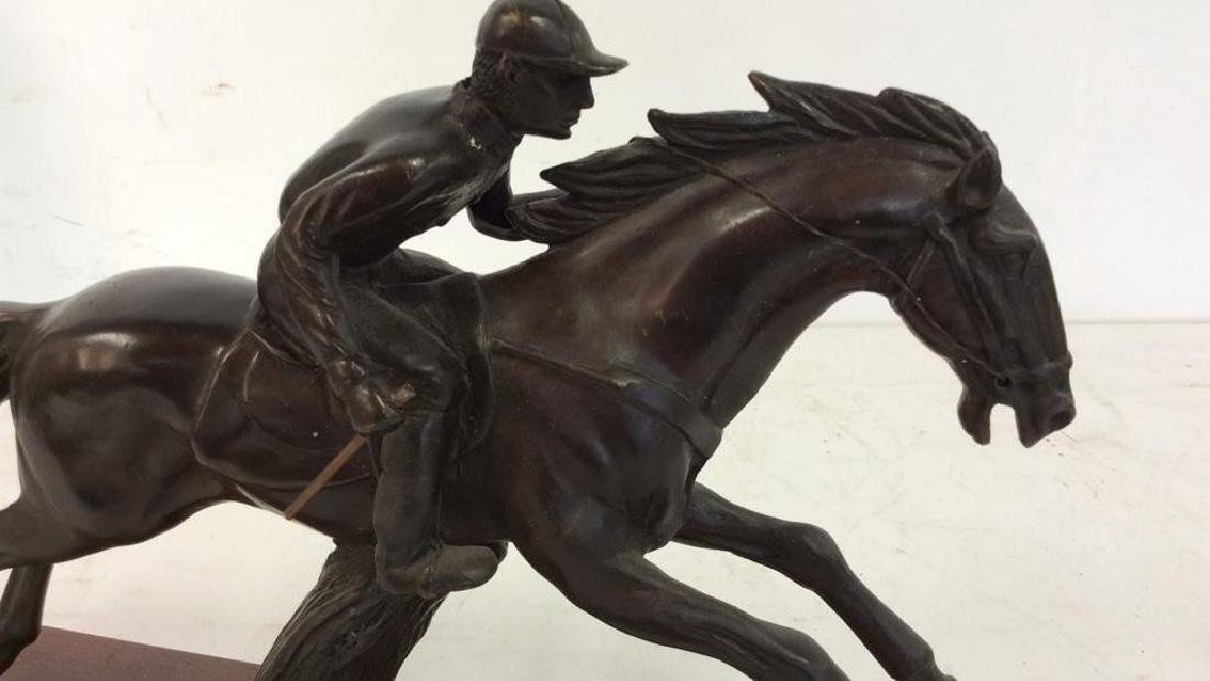Metal Sculpture Jockey atop Racing Horse - 3