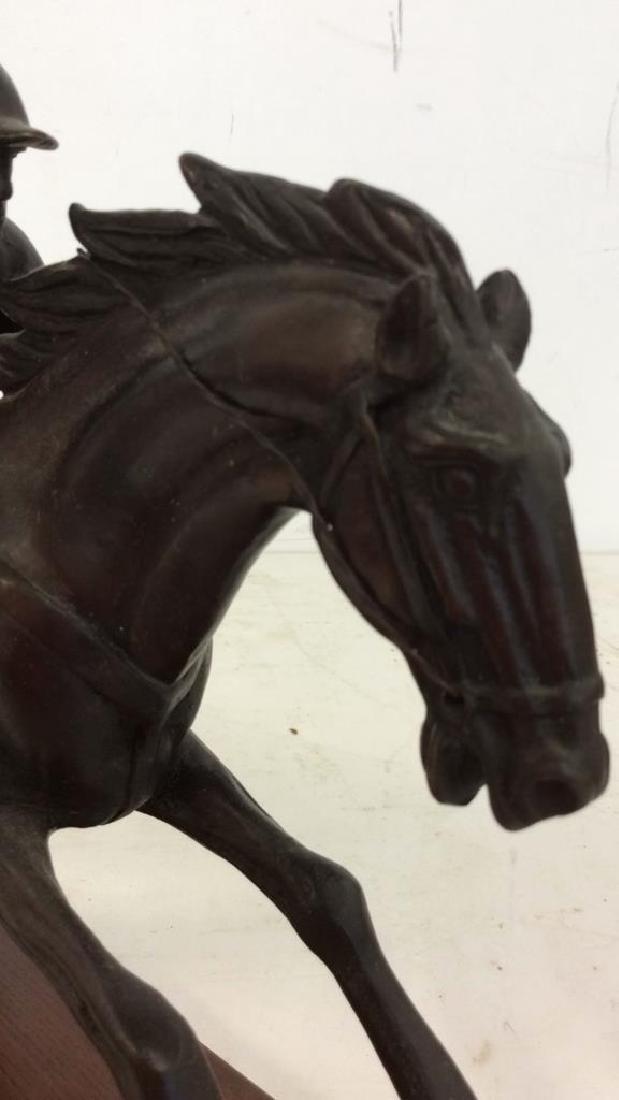Metal Sculpture Jockey atop Racing Horse - 5